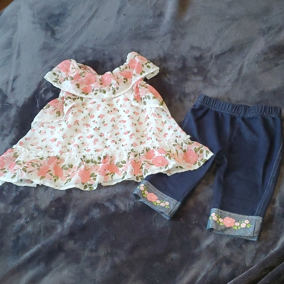 White w/ pink flowers top & pants outfit